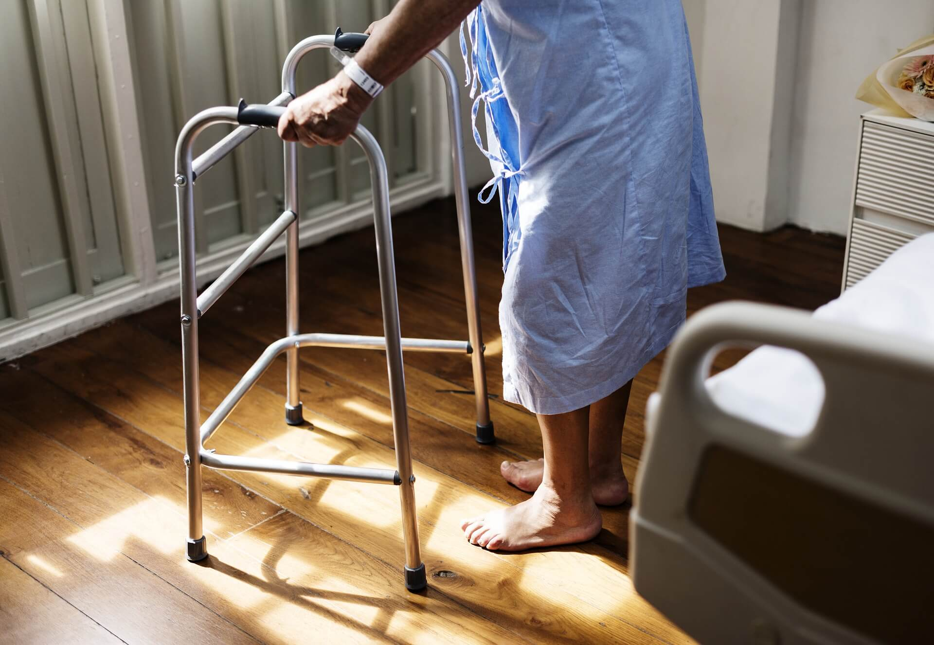 An elderly person receiving healthcare